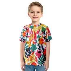 Seamless Autumn Leaves Pattern  Kid s Sport Mesh Tee