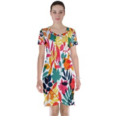 Seamless Autumn Leaves Pattern  Short Sleeve Nightdress
