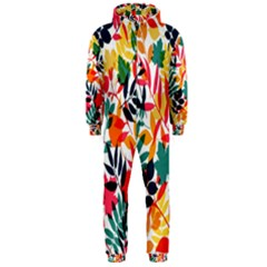 Seamless Autumn Leaves Pattern  Hooded Jumpsuit (Men)