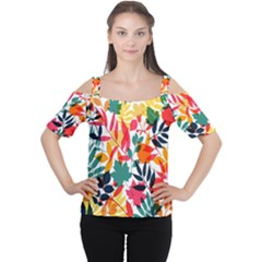 Seamless Autumn Leaves Pattern  Women s Cutout Shoulder Tee