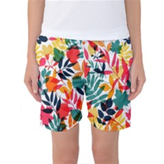 Seamless Autumn Leaves Pattern  Women s Basketball Shorts