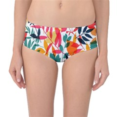Seamless Autumn Leaves Pattern  Mid Waist Bikini Bottoms