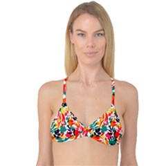 Seamless Autumn Leaves Pattern  Reversible Tri Bikini Top
