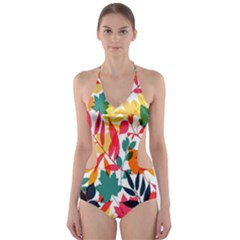 Seamless Autumn Leaves Pattern  Cut Out One Piece Swimsuit