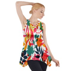 Seamless Autumn Leaves Pattern  Side Drop Tank Tunic
