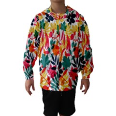 Seamless Autumn Leaves Pattern  Hooded Wind Breaker (Kids)