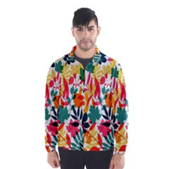 Seamless Autumn Leaves Pattern  Wind Breaker (Men)