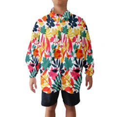 Seamless Autumn Leaves Pattern  Wind Breaker (Kids)