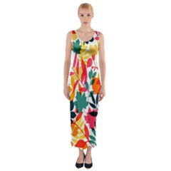 Seamless Autumn Leaves Pattern  Fitted Maxi Dress
