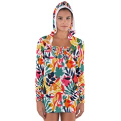 Seamless Autumn Leaves Pattern  Women s Long Sleeve Hooded T Shirt