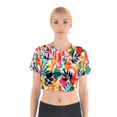 Seamless Autumn Leaves Pattern  Cotton Crop Top