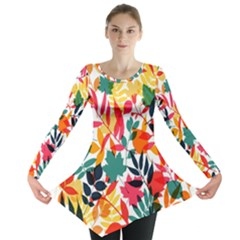 Seamless Autumn Leaves Pattern  Long Sleeve Tunic