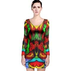 Face Two Long Sleeve Velvet Bodycon Dress