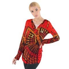 African Butterfly Women s Tie Up Tee