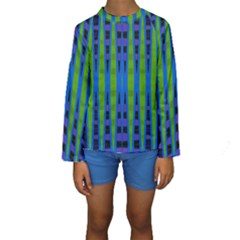 Blue Green Geometric Kid s Long Sleeve Swimwear