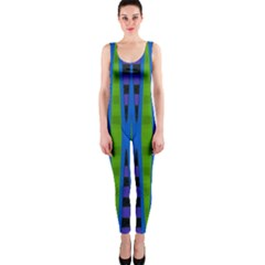 Blue Green Geometric Onepiece Catsuit