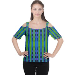 Blue Green Geometric Women s Cutout Shoulder Tee