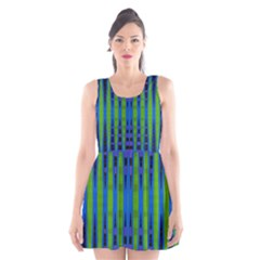 Blue Green Geometric Scoop Neck Skater Dress