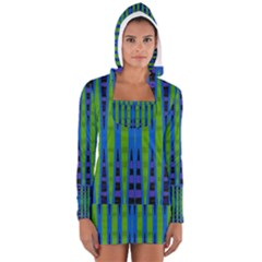 Blue Green Geometric Women s Long Sleeve Hooded T Shirt