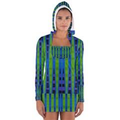 Blue Green Geometric Women s Long Sleeve Hooded T-shirt