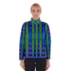 Blue Green Geometric Winterwear