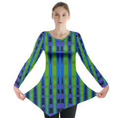 Blue Green Geometric Long Sleeve Tunic