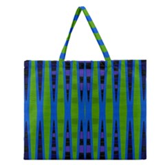 Blue Green Geometric Zipper Large Tote Bag