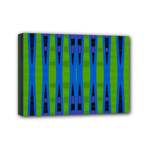 Blue Green Geometric Mini Canvas 7  X 5