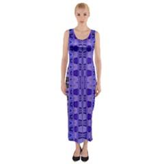 Blue Black Geometric Pattern Fitted Maxi Dress