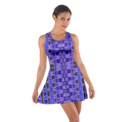 Blue Black Geometric Pattern Racerback Dresses