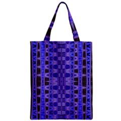 Blue Black Geometric Pattern Zipper Classic Tote Bag