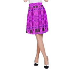 Bright Pink Black Geometric Pattern A Line Skirt