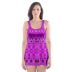 Bright Pink Black Geometric Pattern Skater Dress Swimsuit