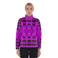 Bright Pink Black Geometric Pattern Winterwear