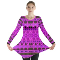 Bright Pink Black Geometric Pattern Long Sleeve Tunic