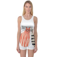 Two Lovely Cats   One Piece Boyleg Swimsuit