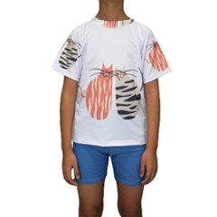 Two Lovely Cats   Kid s Short Sleeve Swimwear