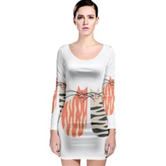 Two Lovely Cats   Long Sleeve Bodycon Dress