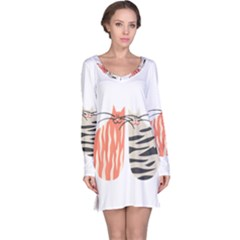 Two Lovely Cats   Long Sleeve Nightdress
