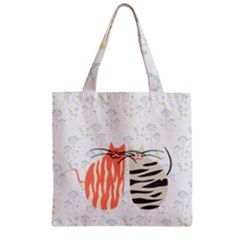 Two Lovely Cats   Zipper Grocery Tote Bag