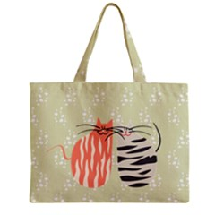 Two Lovely Cats   Zipper Mini Tote Bag