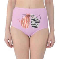 Two Lovely Cats   High-Waist Bikini Bottoms