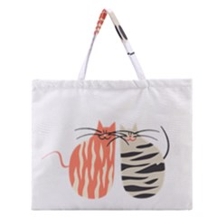 Two Lovely Cats   Zipper Large Tote Bag