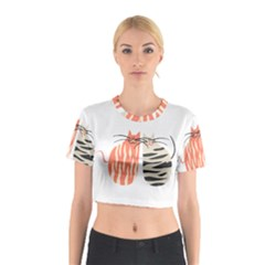 Two Lovely Cats   Cotton Crop Top