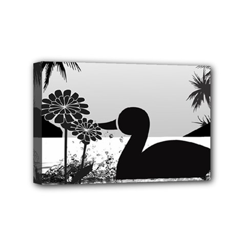 Duck Sihouette Romance Black & White Mini Canvas 6  x 4