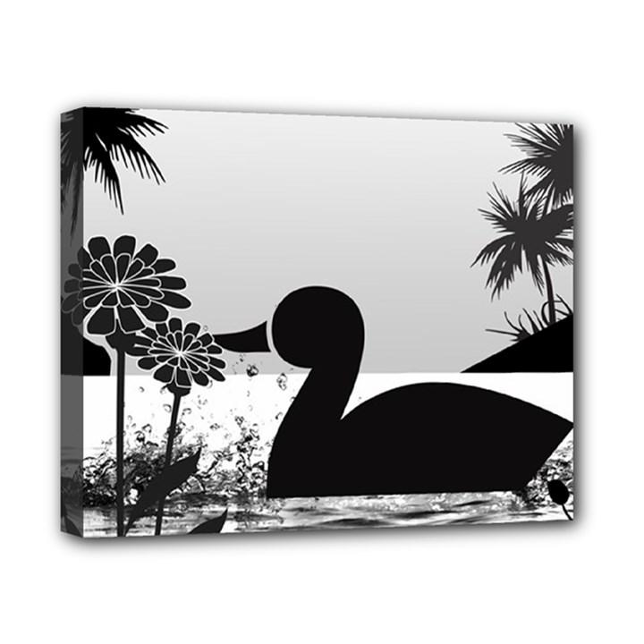 Duck Sihouette Romance Black & White Canvas 10  x 8