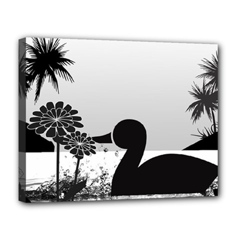 Duck Sihouette Romance Black & White Canvas 14  x 11