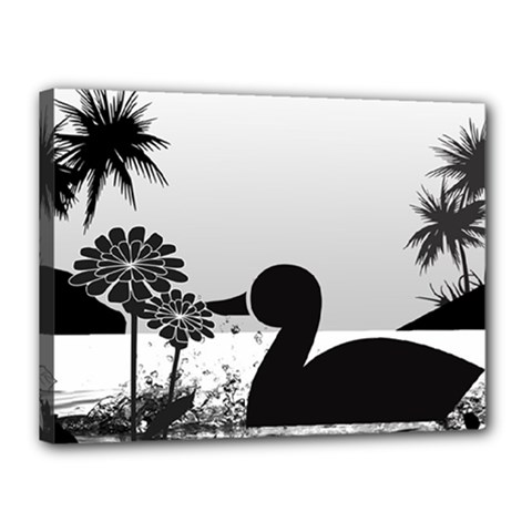 Duck Sihouette Romance Black & White Canvas 16  x 12