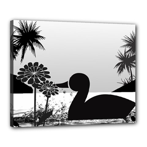 Duck Sihouette Romance Black & White Canvas 20  x 16