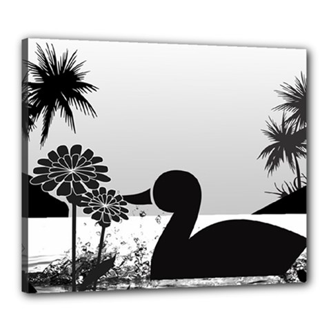 Duck Sihouette Romance Black & White Canvas 24  X 20